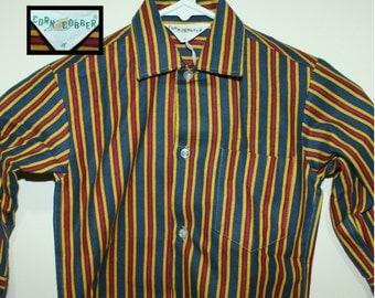 Deadstock child's button down shirt size 4 vertical striped Corn Cobber brand