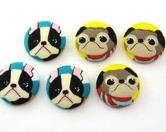 Pug  And Or Boston Terrier  Dog Thumbtacks / Magnet / Push Pin  / Covered Fabric Button  / Pushpin /  Thumb Tack / Office Decor Magnet Board