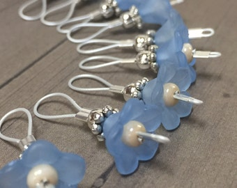 Blue Flower Knitting Stitch Markers- SNAG FREE Wire Loop Beaded Stitch Marker Set