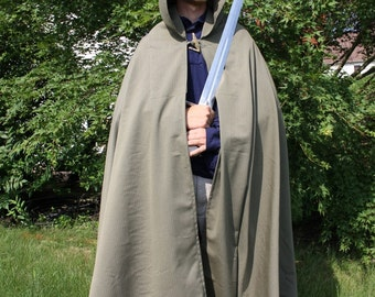 Olive Green 100% Cotton Medieval Cloak With Hood Full Length Semicircular