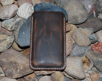 Leather iPhone 6 Sleeve Brown Oil Tanned Leather iPhone 4, 5, 6 and 6 Plus Distressed Leather Phone Case