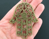1 Hamsa Hand Charm Antique Bronze Tone Ornate Flower Design - BC848