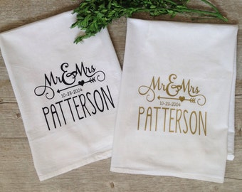 Personalized Tea Towel Custom Wedding Gift Housewarming Gift Flour Sack Customized Bridal Shower Gift Kitchen Home Decor Gay Marriage Gift