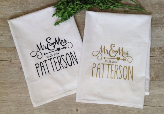 Personalized Tea Towel Custom Wedding Gift Housewarming Gift