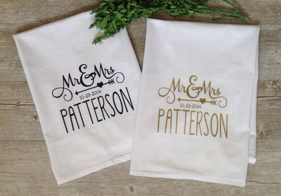 Personalized Wedding Gifts Kitchen : Personalized Tea Towel Custom Wedding Gift Housewarming Gift Flour ...