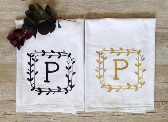 Personalised Wedding Gift Nz : Personalized Tea Towel Custom Wedding Gift Custom Initial Housewarming ...