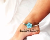 Beachy Feet Hibiscus Flower Anklet Blue Anklet Cruise Vacation Beach Ankle Bracelet