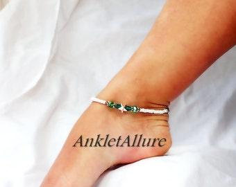 Ocean Meets Sea Green Aqua Crystal Anklet Gold Plated Starfish Ankle Bracelet Gold Ankle Bracelet