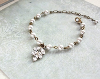 Rhinestone Leaf Bracelet Pearl Bracelet Bridemaids Gift Wedding Jewelry Romantic Nature Vintage Style Glass Rhinestone Bridal Jewelry
