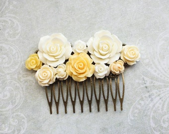 Yellow Bridal Hair Comb Country Rose Wedding Ivory Cream Flower Hair Accessories Floral Headpiece Romantic Bridesmaids Gift Vintage Style