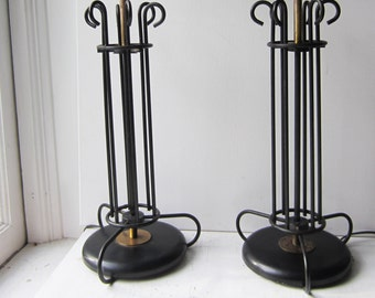 "Pair Tall Vintage Black Wrought Iron Metal & Brass Lamps - Mid Century - Working - 22"" Tall"