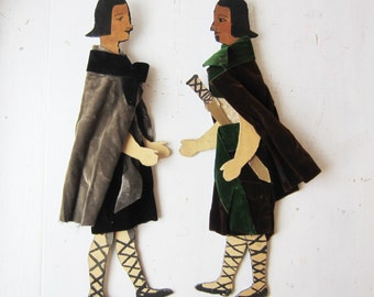 Antique Medieval Articulated Puppet Dolls - Vintage Handmade Dolls
