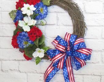 Patriotic Wreath, Floral Patriotic Wreath, Memorial Day Wreath, Grapevine Patriotic, , Red White and Blue