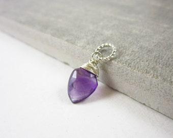 S - February Birthstone Jewelry Handmade - Dark Purple Natural Amethyst Gemstone - Sterling Silver Pendant - Healing Crystals and Stones