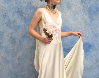 Our Custom Designed Silk Art Deco Wedding Dress With Long Train and Shawl