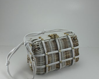 Vintage Plastic Woven Wicker Purse White Gold with Gold Studs