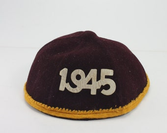 Vintage Felt Beanie Hat Dated 1945 Maroon Gold