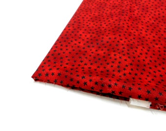 Red with Black Stars by Cherri for SSI and Button Button Designs, 1 yd Cotton Remnant, Sewing Material