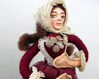 Vintage Greek Folk Art Doll Art Artisan Made