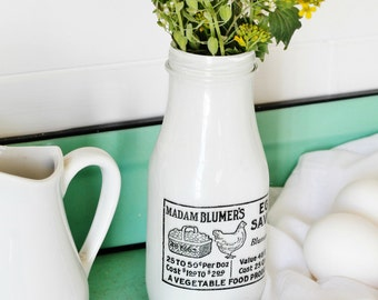 Farmhouse Milk Bottle Vase - Upcycled