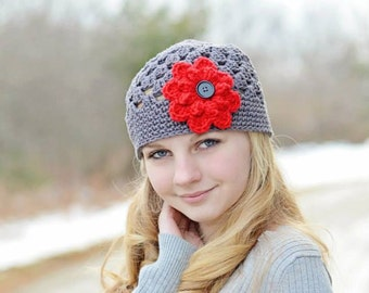 Gray Beanie Hat with 1 button on detachable flower of your choice (fits babies, toddlers, children and adults) (Lily Beanie)