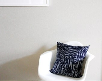 Rain Batik Pillow, Navy Blue, 18x18 inches