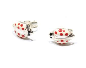 Lady Bug Stud Earrings in Sterling Silver 925, Vintage Handmade