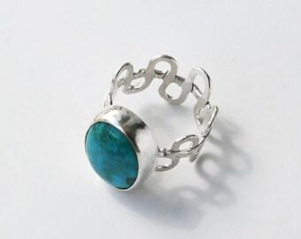 Turquoise Squiggle Ring Fun Modern Design