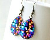 city lights bokeh resin drop earrings, colorful, modern, antique brass, french hook