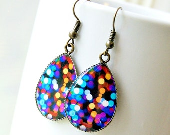 city lights bokeh resin drop earrings, colorful, modern, antique brass, french hook