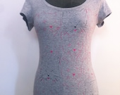 Women's Printed Gray T shirt- Pink and Black cats print-Size S