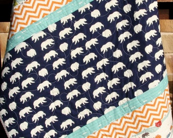 SALE Boy Quilt, Modern Stripes, Bear Hiking Forest Canoeing, Birch Fabrics, Organic All Natural Baby Boy Blanket, Navy Blue Orange Chevron