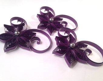 3 Boutonnieres, Purple Wedding Accessories for Men, Purple Buttohole