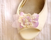 Lilac wedding shoe clips vintage wedding purple shoe clips bridal Shoe clips Lace Flower shoe clips Lilac Flower shoe clips lace shoe clips