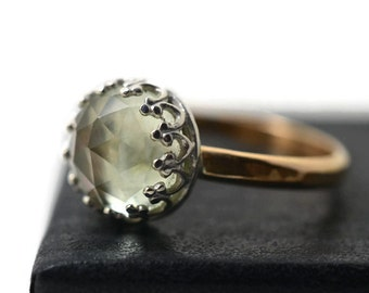 Prasiolite Ring, Engagement Ring, Green Amethyst Jewelry, 14K Gold Fill Ring, 8mm Gemstone Ring, Green Jewel Ring
