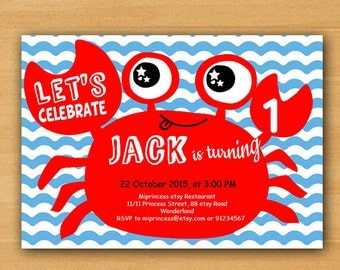 Crab Birthday Invitation for any age,  Nautical crab Whimsical design sea boy 1st 2nd 3rd 4th 5th 6th 7th 8th 9th 10th invite - card 716