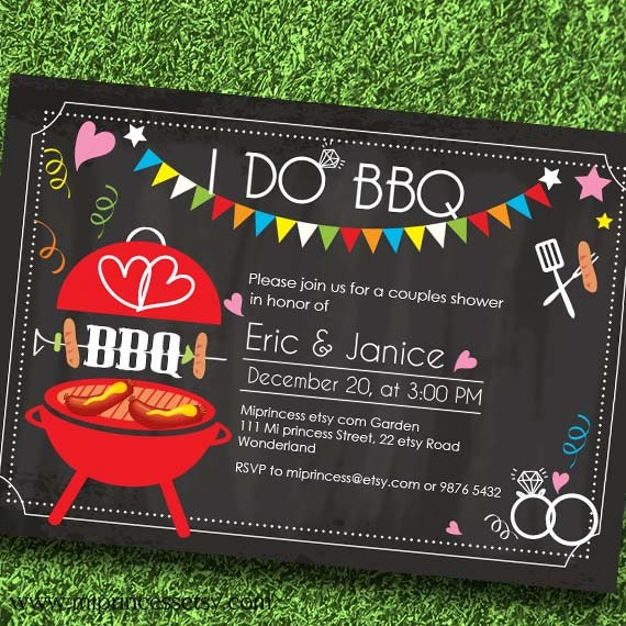 Chalkboard Engagement Party I Do BBQ Invitation