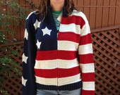RESERVED for Dawn 80s Stars And Stripes USA Knit Cardigan Tommy Hilfiger Zip Up