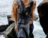 Wild boho tunic grey dress felted wool, natural style summer boho fashion, size S-M