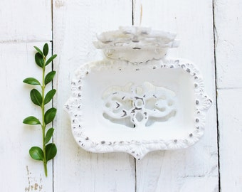 White Business Card Holder-Soap Dish-Bathroom Office Decor-Victorian Nautical Shabby Chic-Malibu Cottage Home-Crispy White