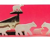 Miniature Wood Picture Book Polar Bears - eco-Baltic birch plywood, non-toxic acrylic paint; desk art, totem, inspiration, company, Waldorf