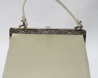 Vintage Purse- Women's, Ivory, Hinged Mouth, Clutch Purse, w/ Embellished Metal Edging, V40059