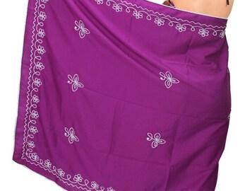 La Leela Designer Embroidered Swim Pareo Beach Sarong Cover up Wraps Purple-119353