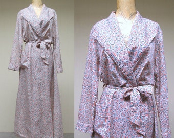 Vintage 1950s Robe / 50s Nylon Atomic Age Print Wrap Style Dressing Gown / Medium