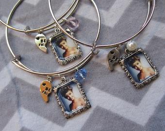 Bangle Bracelet inspired by Laura Palmer w/ portrait & half heart, choice of bead. Deluxe single bracelet.