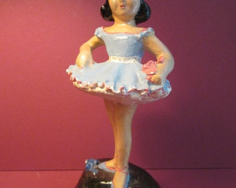 Chalkware Ballerina Sculpture - Young Dancer Figurine in Style of Florence Ceramics