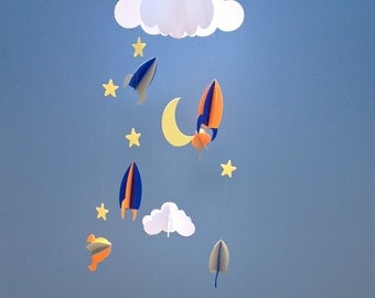 Baby Mobile - Rockets and Stars Hanging/Space Mobile/Baby Mobile/3D Paper Mobile/Nursery Mobile
