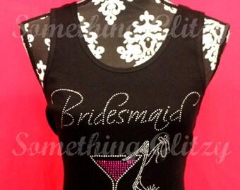 Bridesmaid Script bling Tank, Bridesmaid Bling Tee, Bridesmaid Rhinestone Shirt, Bridesmaid Bling shirt, Bridesmaid tank, Team Bride, Bride