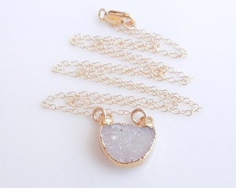 White Drusy Necklace in Gold - Druzy Jewelry - Petite Necklace - One of a Kind