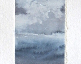 gulls over the ocean storm original watercolour painting